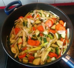 Légumes dans la poêle